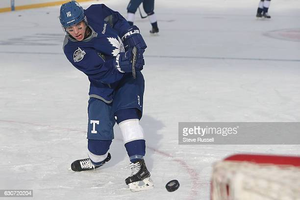 Toronto Maple Leafs center Mitchell Marner as the Toronto Maple Leafs practice on the eve of the Centennial Practice at Exhibition Stadium in...