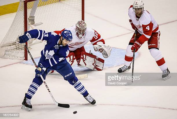 Toronto Maple Leafs center Nazem Kadri tips the puck just wide of the net as the Toronto Maple Leafs host the Detroit Red Wings at the Air Canada...