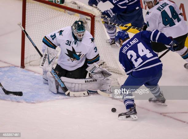 TORONTO ON DECEMBER 3 Toronto Maple Leafs center Peter Holland get a chance close in on San Jose Sharks goalie Antti Niemi during the 2nd as the...