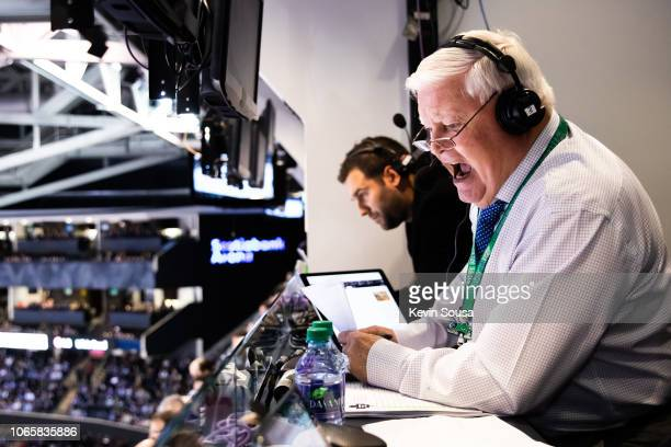 Toronto Maple Leafs commentator Joe Bowen call the game against the New Jersey Devils on the day he was inducted to the Hockey Hall of Fame during...