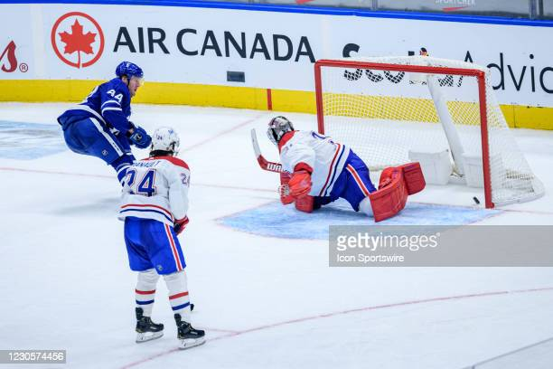 Toronto Maple Leafs Defenceman Morgan Rielly scores a goal past Montreal Canadiens Goalie Carey Price to win the game during overtime of the NHL...