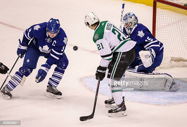 TORONTO ON DECEMBER 5 Toronto Maple Leafs defenseman Dion Phaneuf and Dallas Stars left wing Antoine Roussel battle for the puck in front of Toronto...