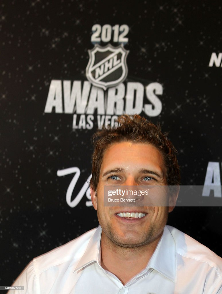 Toronto Maple Leafs defenseman John-Michael Liles speaks with the press at the NHL Awards nominee media availability at the Wynn Las Vegas Resort on June 19, 2012 in Las Vegas, Nevada.