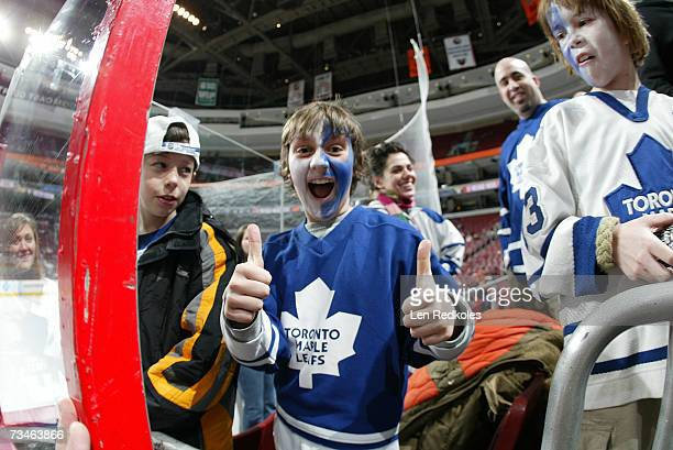 Toronto Maple Leafs fan gives the thumbs up sign before the game against the Philadelphia Flyers at Wachovia Center on February 24 2007 in...