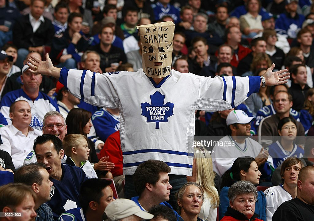 A Toronto Maple Leafs Fan Wears A Paper Bag On His Head As He Watches News Photo Getty Images