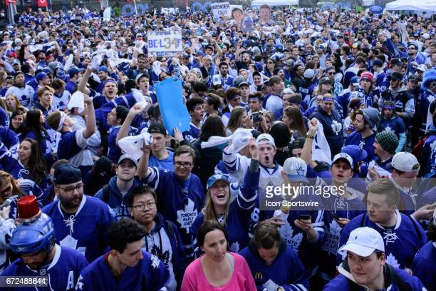 Toronto Maple Leafs fans gather in Maple Leaf Square before the NHL Stanley Cup Playoffs Round 1 Game 6 Game between the Toronto Maple Leafs and the...