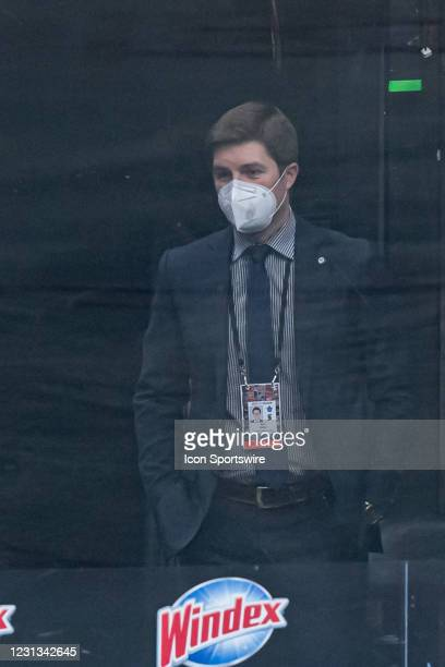 Toronto Maple Leafs General manager Kyle Dubas reacts during the NHL regular season game between the Calgary Flames and the Toronto Maple Leafs on...