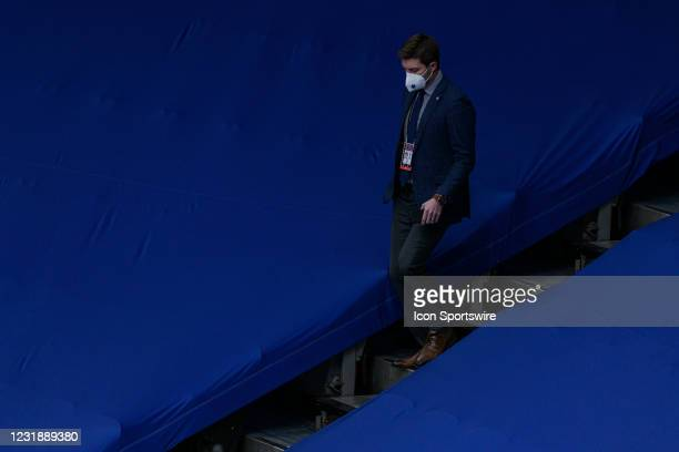 Toronto Maple Leafs General manager, Kyle Dubas walks down the stairs during the NHL regular season game between the Calgary Flames and the Toronto...