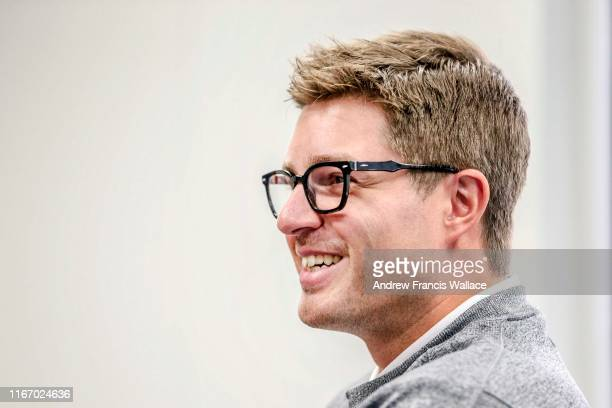 Toronto Maple Leafs GM Kyle Dubas during interview with Bruce Arthur