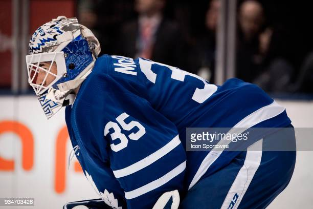 Toronto Maple Leafs Goalie Curtis McElhinney looks out from the net to centre ice during the regular season NHL game between the Montreal Canadiens...