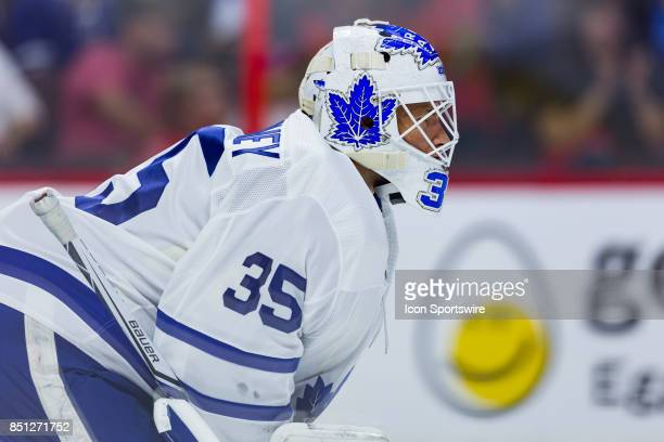 Toronto Maple Leafs goalie Curtis McElhinney waits for the faceoff during second period National Hockey League preseason action between the Toronto...