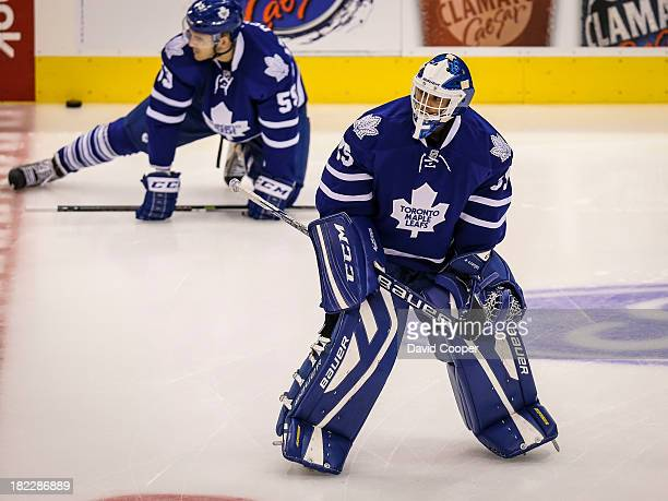 Toronto Maple Leafs goalie Drew MacIntyre during the warmup as the Toronto Maple Leafs host the Detroit Red Wings at the Air Canada Centre in...