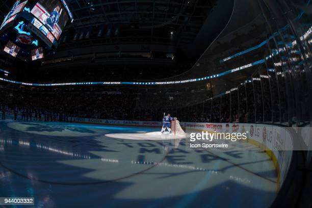 Toronto Maple Leafs Goalie Frederik Andersen before the final NHL 2018 regularseason game between the Montreal Canadiens and the Toronto Maple Leafs...