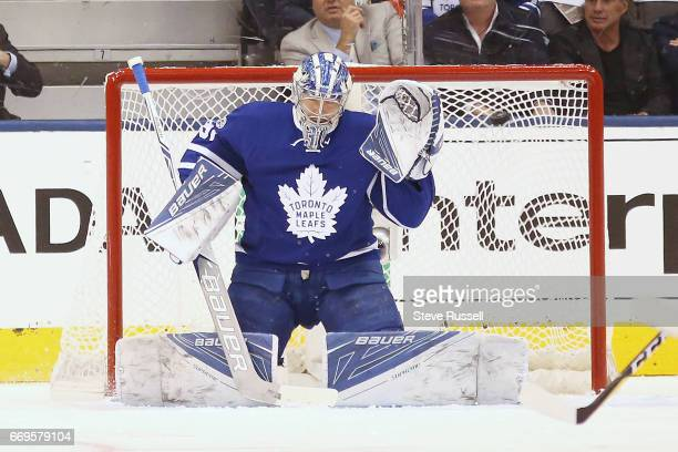 TORONTO ON APRIL 17 Toronto Maple Leafs goalie Frederik Andersen could not stop this Alex Ovechkin shot as the Toronto Maple Leafs play the...