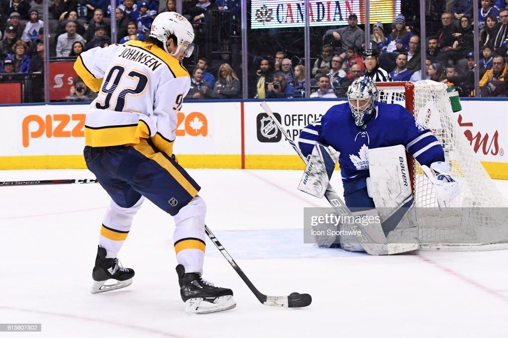 Toronto Maple Leafs Goalie Frederik Andersen (31) defends against Nashville Predators Center Ryan Johansen (92) during the regular season NHL game between the Nashville Predators and Toronto Maple Leafs on February 7, 2018 at Air Canada Centre in Toronto, ON.