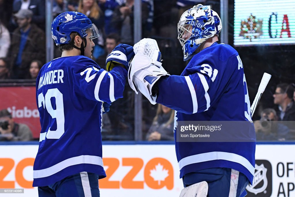 Toronto Maple Leafs Goalie Frederik Andersen (31) is congratulated by Right Wing William Nylander (29) after the regular season NHL game between The Florida Panthers and Toronto Maple Leafs on February 20, 2018 at Air Canada Centre in Toronto, ON.