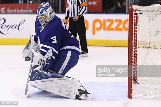 TORONTO ON DECEMBER 15 Toronto Maple Leafs goalie Frederik Andersen makes a save as the Toronto Maple Leafs play the Arizona Coyotes at the Air...