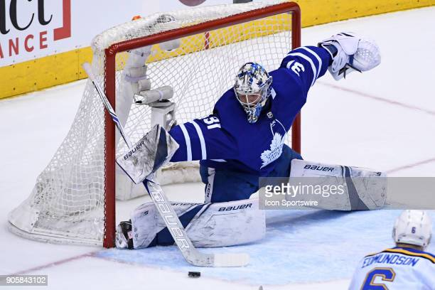Toronto Maple Leafs Goalie Frederik Andersen makes a save during the regular season NHL game between the St Louis Blues and Toronto Maple Leafs on...