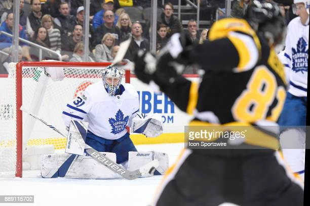 Toronto Maple Leafs Goalie Frederik Andersen makes a save on Pittsburgh Penguins Right Wing Phil Kessel during the second period in the NHL game...
