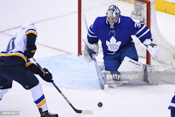 Toronto Maple Leafs Goalie Frederik Andersen makes a save on St Louis Blues Center Brayden Schenn during the regular season NHL game between the St...