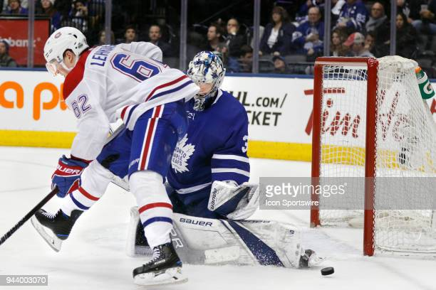 Toronto Maple Leafs Goalie Frederik Andersen stops Montreal Canadiens Right Wing Artturi Lehkonen in one of his 31 saves of the night during the...