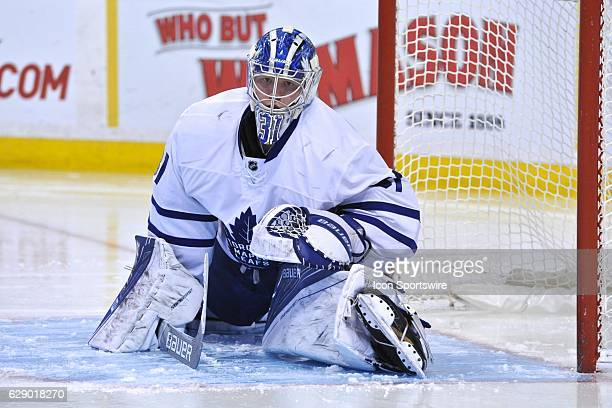 Toronto Maple Leafs Goalie Frederik Andersen stretches out before the start of the 3rd period During the Toronto Maple Leafs game against the Boston...