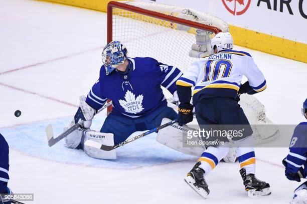 Toronto Maple Leafs Goalie Frederik Andersen turns a aside a shot by St Louis Blues Center Brayden Schenn during the regular season NHL game between...