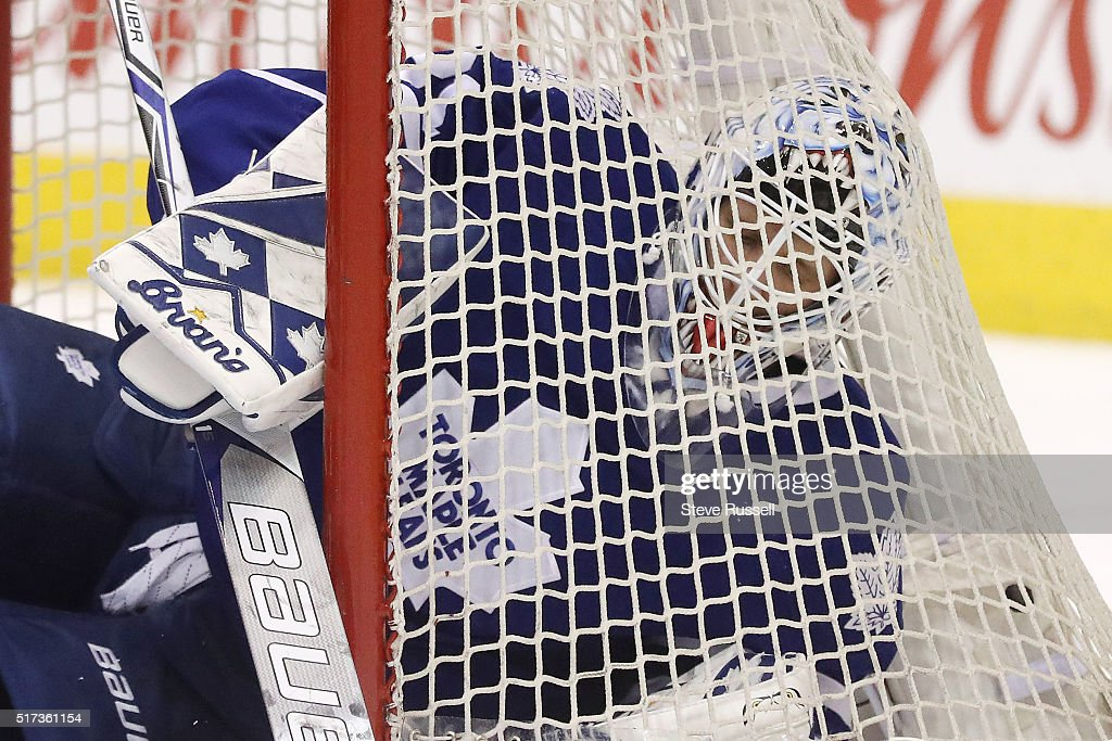 Toronto Maple Leafs goalie Garret Sparks takes cover in the net as the Toronto Maple Leafs beat the Anaheim Ducks 6-5 in overtime at Air Canada Centre in Toronto. March 24, 2016.