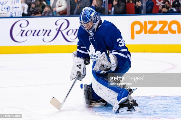 Toronto Maple Leafs Goalie Jack Campbell makes a save during warm up before the NHL regular season game between the Anaheim Ducks and the Toronto...