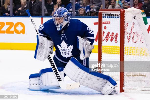 Toronto Maple Leafs Goalie Jack Campbell tends the net during the NHL regular season game between the Anaheim Ducks and the Toronto Maple Leafs on...