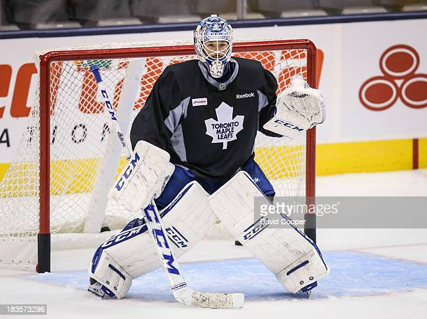 Toronto Maple Leafs goalie Jonathan Bernier in his net during practice at the Air Canada Centre in Toronto, October 7, 2013.