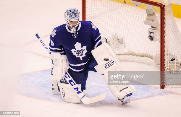 Toronto Maple Leafs goalie Jonathan Bernier makes a game saving catch in the 3rd period during the game between the Toronto Maple Leafs and the...