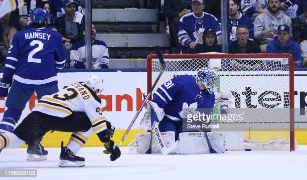 TORONTO ON APRIL 21 Toronto Maple Leafs goaltender Frederik Andersen gets beat by a shot by Boston Bruins left wing Brad Marchand as the Toronto...
