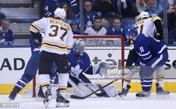 TORONTO ON APRIL 16 Toronto Maple Leafs goaltender Frederik Andersen makes a save as the Toronto Maple Leafs beat the Boston Bruins 42 in game three...