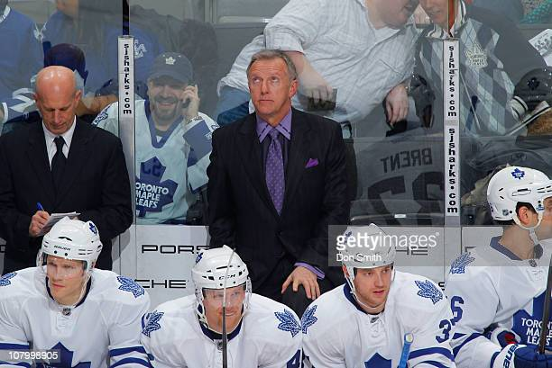 Toronto Maple Leafs Head Coach Ron Wilson watches the clock run out against the San Jose Sharks during an NHL game on January 11, 2011 at HP Pavilion...