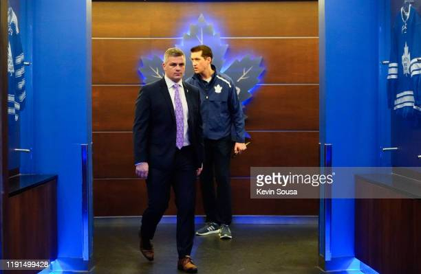 Toronto Maple Leafs head coach Sheldon Keefe walks out of the locker room before the third period against the Buffalo Sabres at the Scotiabank Arena...