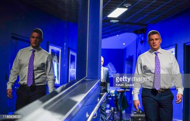 Toronto Maple Leafs Head Coach Sheldon Keefe walks to a press conference before his first home game as head coach at the Scotiabank Arena on November...