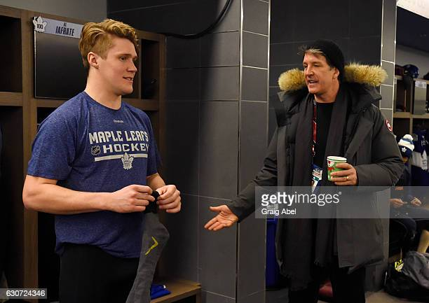 Toronto Maple Leafs Jake Gardiner talks with Maple Leafs President Brendan Shanahan prior to the 2017 Rogers NHL Centennial Classic Alumni Game on...