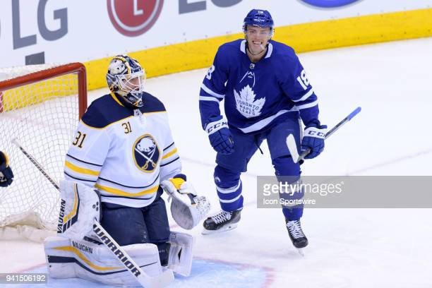 Toronto Maple Leafs Left Wing Andreas Johnsson celebrates after scoring his second goal of the season as Buffalo Sabres Goalie Chad Johnson looks...
