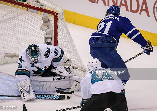 TORONTO ON DECEMBER 3 Toronto Maple Leafs left wing James van Riemsdyk tries his side of the net shot on San Jose Sharks goalie Antti Niemi but to no...