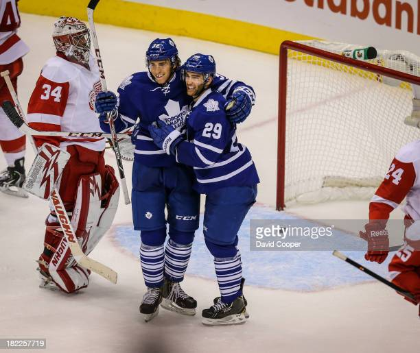 TORONTO ON SEPTEMBER 28 Toronto Maple Leafs left wing Josh Leivo scores the Leafs first goal of the night on a tip in from Toronto Maple Leafs...