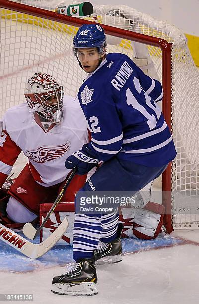 TORONTO ON SEPTEMBER 28 Toronto Maple Leafs left wing Mason Raymond in front of the Red Wings net during the game as the Toronto Maple Leafs defeated...