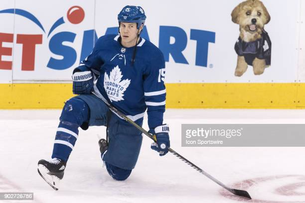 Toronto Maple Leafs Left Wing Matt Martin stretches before the regular season NHL game between the Vancouver Canucks and the Toronto Maple Leafs on...
