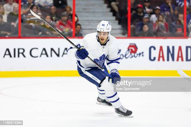 Toronto Maple Leafs left wing Pontus Aberg follows the play during first period National Hockey League preseason action between the Toronto Maple...