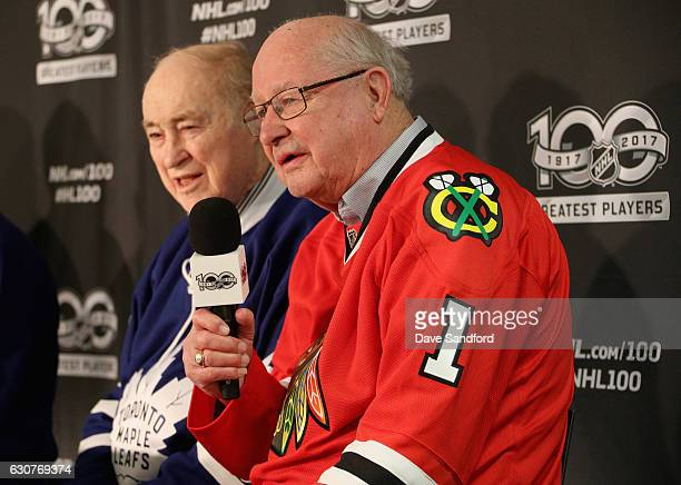Toronto Maple Leafs legend Red Kelly and Chicago Blackhawks legend Glenn Hall speak to the media prior to the start of the 2017 Scotiabank NHL...