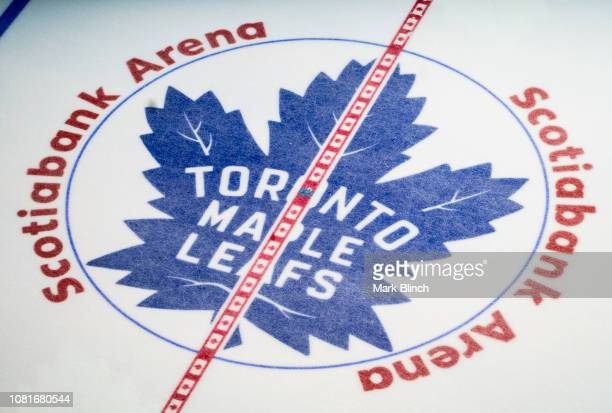 Toronto Maple Leafs logo pictured at centre ice at the Scotiabank Arena on January 12 2019 in Toronto Ontario Canada