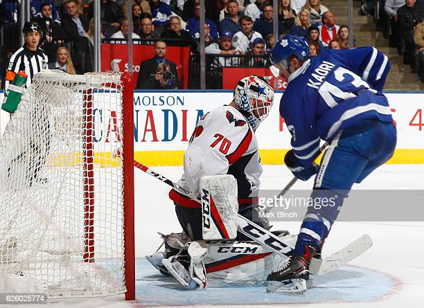 Toronto Maple Leafs' Nazem Kadri scores on Washington Capitals goalie Braden Holtby during the third period at the Air Canada Centre on November 26...