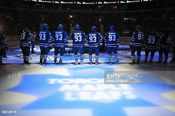Toronto Maple Leafs players stand for on the ice before the game against the Pittsburgh Penguins at Air Canada Centre on January 31 2009 in Toronto...
