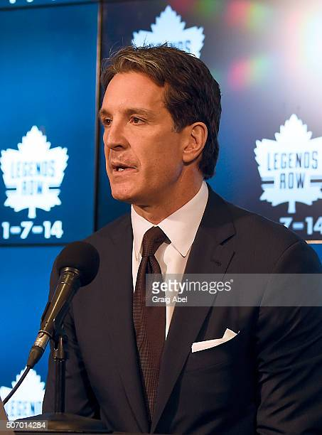 Toronto Maple Leafs president Brendan Shanahan speaks at a press conference prior to a game against the Montreal Canadiens on January 23 2016 at Air...