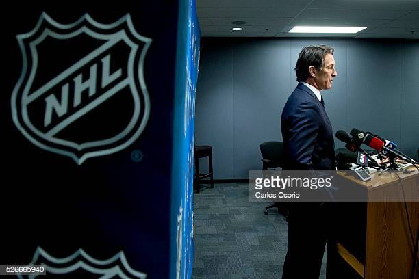 TORONTO ON APRIL 30 Toronto Maple Leafs President Brendan Shanahan speaks to reporters after winning the first selection in the 2016 NHL Draft...